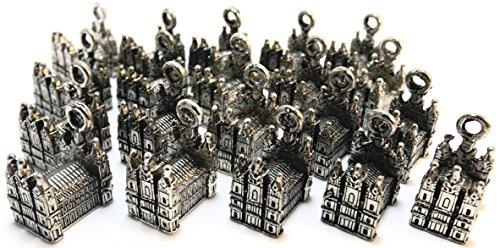 Set of Twenty (20) Silver Tone Pewter Mormon Temple Charms (Charm Temple Mormon)