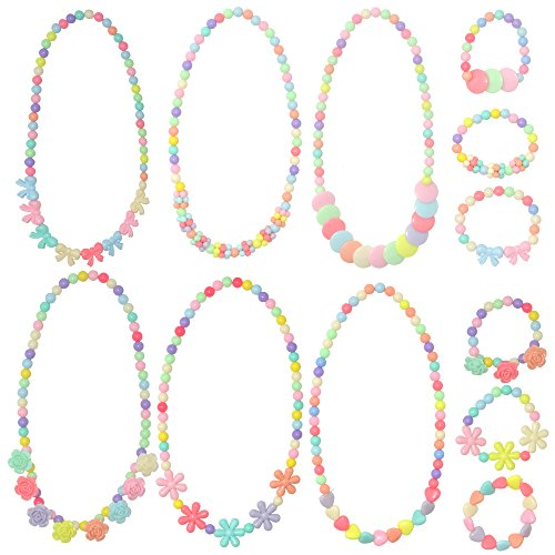 YSLF 6 Sets Princess Necklace, Girls Jewelry Toddler Costome Jewelry for Kids]()