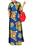 NestYu Women Fine Cotton African Printed Headband Full Length Dress Blue S