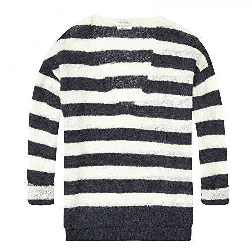 (Maison Scotch Deep V Neck Striped Womens Knit Combo B XL)