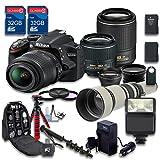 Deluxe Bundle for D3200 DSLR Camera + 18-55mm VR Lens + 55-200mm ED VR II Lens + 650-1300mm Manual Focus + WideAngle Lens +Telephoto Lens+2 PC Memory Cards