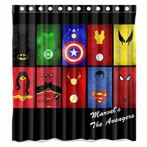 Custom Batman Spiderman Superman Captain American All Characters Logo Waterproof Polyester Fabric Bathroom Shower Curtain Standard Size (All Batman Characters)