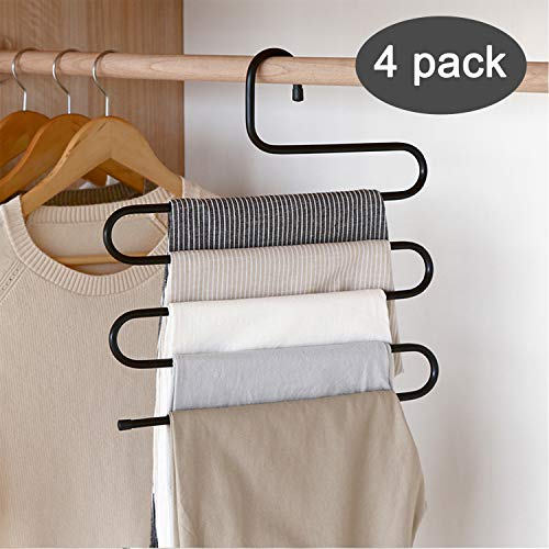 (DS Pants Hanger Multi-layer S-style Jeans Trouser Hanger Closet Organize Storage Stainless Steel Rack Space Saver for Tie Scarf Shock Jeans Towel Clothes(4 Pack ))