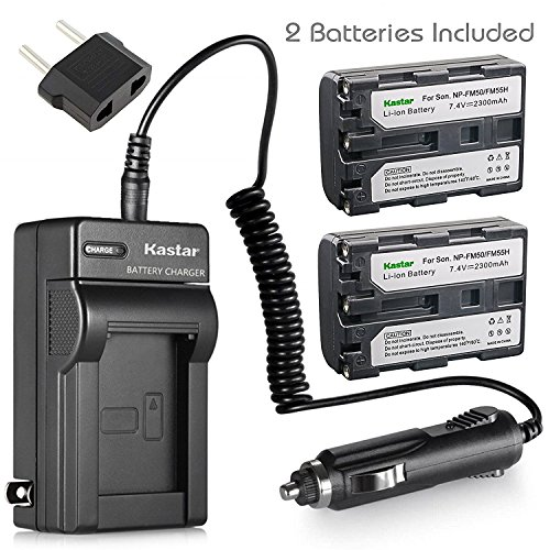 Kastar 2 Pack Battery and Charger for Sony NP-FM30 NP-FM50 NP-FM55H Battery and Sony Cyber-shot DSC-F707 DSC-F717 DSC-F828 DSC-R1 DSC-S30 DSC-S50 DSC-S70 DSC-S75 DSC-S85; Sony DSR-PDX10 HVL-ML20M by Kastar