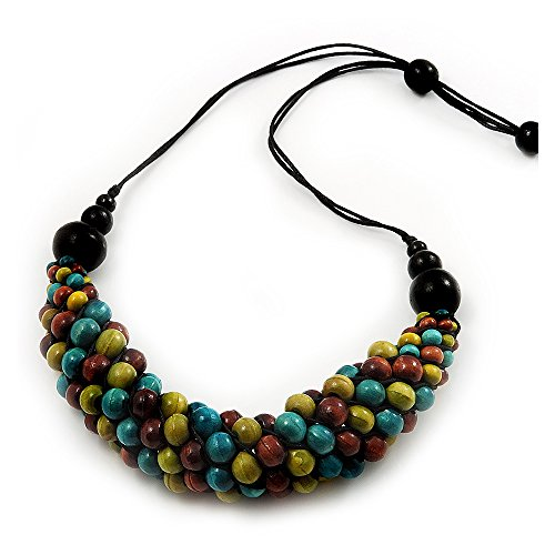Avalaya Chunky Olive Green Wood Bead Cotton Cord Necklace - 60cm Length