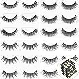 Urbun 4 Styles 12 Pairs Multipack Luxurious Real Mink 3D Natural False Eyelashes Cross Long Black Makeup Eye Lashes