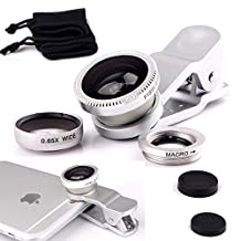 "ONX3 Kobo Arc 7 7"" (Silver) Mobile Phone Universal Camera Lens 3 in 1 Kit Wide Angle Lens + Fisheye Lens + Macro Lens with Clip-on 180 Degree For Both Android and iOS Devices"