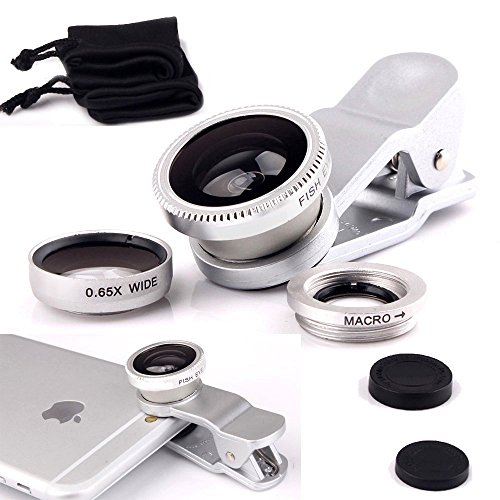ONX3 Apple iPhone 5 / iPhone 5s / iPhone 5c (Silver) Mobile Phone Universal Camera Lens 3 in 1 Kit Wide Angle Lens + Fisheye Lens + Macro Lens with Clip-on 180 Degree For Both Android and iOS Devices