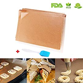 Unbleached Parchment Paper for Baking, 100 Pcs Precut 12x16 inches Cookie Baking Paper Sheets Non Stick Pan liner - Fit for Your Half Sheet Pans, with Silicone Baking Brush as Bonus 7 ❓❓❓ Do you ever baking cookie or bread without using parchment paper? and leave the grease, cookie residues and bread crumbs on the pan? So you have to spend your time and use some tool to wash the baking pan! and more annoyed, if you did not wash it ASAP, it will become solid and harder to wash.❗❗❗ So why don't try our precut baking parchment papers? Here is a new try for you to start a new baking life - more convience and more funny!