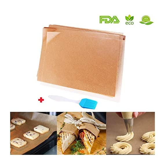 Unbleached Parchment Paper for Baking, 100 Pcs Precut 12x16 inches Cookie Baking Paper Sheets Non Stick Pan liner - Fit for Your Half Sheet Pans, with Silicone Baking Brush as Bonus 1 ✓ The perfect size for half sheet pans - 12'' x 16'' precut parchment paper sheets. More convience than the parchment rolls, save your time on cutting paper ✓ Make Cleanup Easier - Don't need to spend your time on scrubbing off baking grease from your cookie pan, simply remove the paper and throw it away ✓ Free Baking Brush as BONUS GIFT - Each pack of 100 baking sheets papers and includes a random color silicone detachable brush, for baking, grilling, basting & marinating