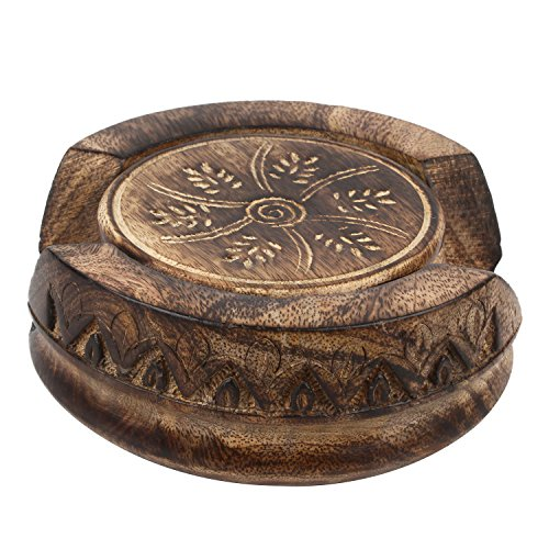 GoCraft Handmade Wood Drink Coasters Sets With Holder Set of 6 in a Lotus Shaped Holder with Rustic - Rustic Set Tumbler