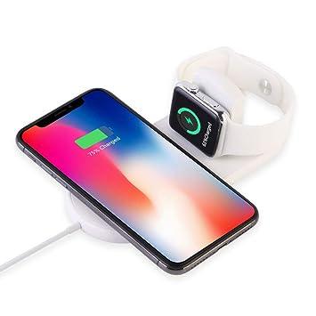 ATETION Cargador inalámbrico para Apple Watch, Soporte de Plataforma de Carga 2 en 1 Compatible con con para iPhone XS/XS MAX/XR/X / 8 / Plus/Series ...