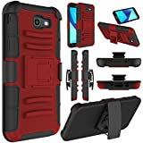 Galaxy J7 Sky Pro Case, Galaxy J7 V Case, Galaxy J7 Perx Case, Elegant Choise Heavy Duty Full Body Protective Case Cover with Belt Swivel Clip and Kickstand for Samsung Galaxy J7 2017 (Red)