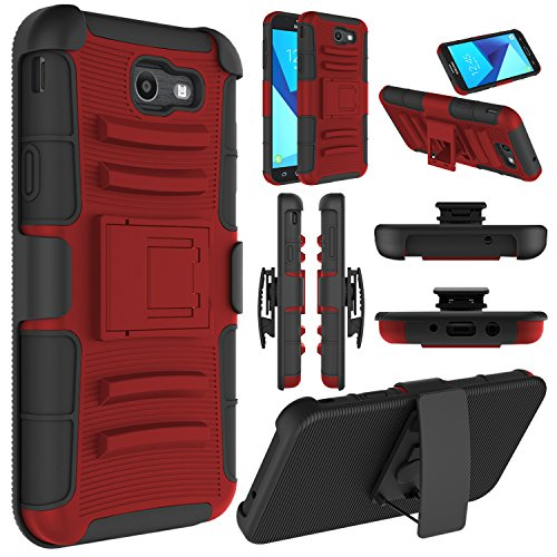 Elegant Choise Compatible with Samsung J7 2017 Case, Galaxy J7 Sky Pro Case, Galaxy J7 V Case,  J7 Perx Case, Heavy Duty Full Body Protective Case with Belt Swivel Clip and Kickstand Phone Case(Red)