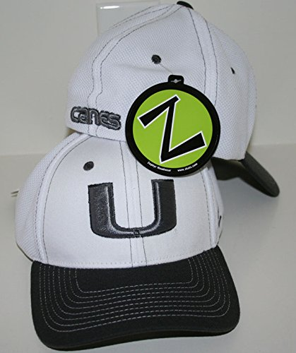 Miami Hurricanes White Wind Storm Fitted Hat Size XL by Zephyr - Zephyr Hurricane