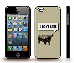 "iStar Cases? iPhone 4 Case with ""I don't care"" Honeybadger, Funny, Black Font, Text Box, Honeybadger Design , Snap-on Cover, Hard Carrying Case (Black)"