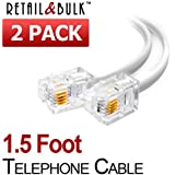(2 Pack) 1.5 Foot Short Telephone Cable Rj11 Male to Male 18, Phone Line Cord