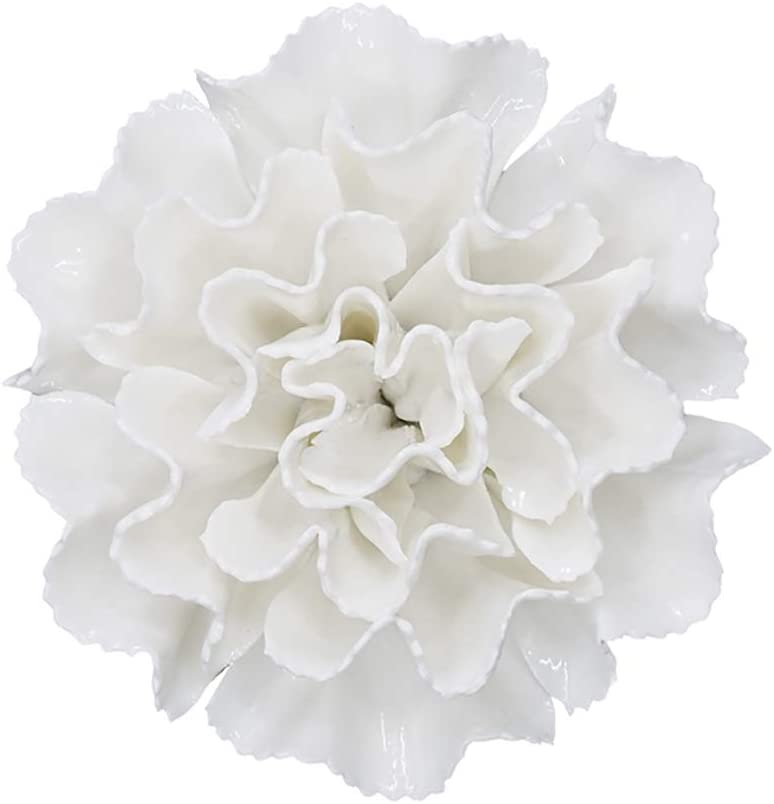 ALYCASO Ceramic Flower Wall Décor Artificial 3D Flower Wall Art for Living Room Home Hallway Bedroom Kitchen Farmhouse Bathroom Dining Room, White, F6, 4.72 inch