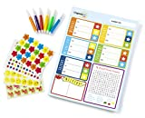 OrganizeME Kid Behavior Chore Chart Daily Planner Pad for Children (52 Weekly Sheets) Promotes Responsibility and Confidence by Positive Reinforcement. Includes 6 Markers and 800+ Star Reward Stickers