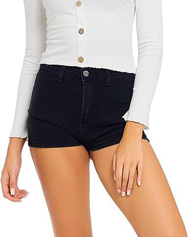 Mujer Talle Alto Pantalones Cortos Engaste Shorts De Mezclilla ...