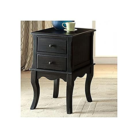 French Country Small 16 inch Long Side Table in Antique Black - French Country Living Room Furniture