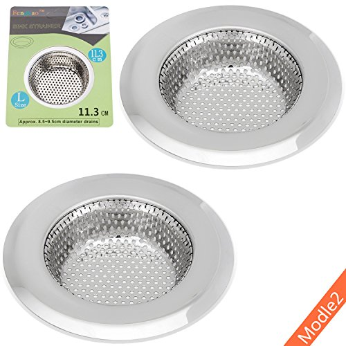 - 2PCS Kitchen Sink Strainer - MD2 - Stainless Steel, Large Wide Rim 4.5