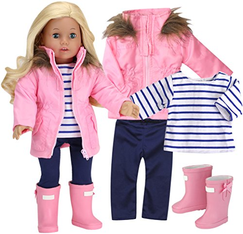4 Piece Doll Outfit with Coat and Boots | Light Pink Parka, Navy Leggings, White and Blue Stripe T and Light Pink Rain Wellies for 18 inch Dolls