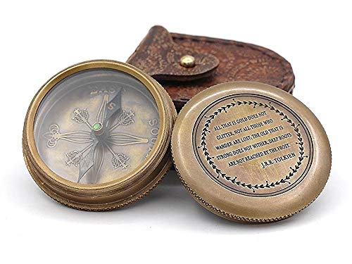 Roorkee Vintage Brass Compass with Leather Case/J.R.R. Tolkien...