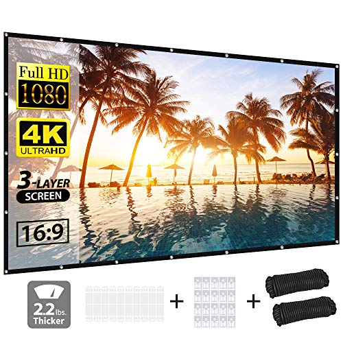 Projector Screen, vamvo 3-Layer Movie Screen pro, 120 inch 16:9 HD Portable Projection Screen, Foldable Indoor Outdoor Waterproof Front Projection Projector Movies Screen for Home Theater