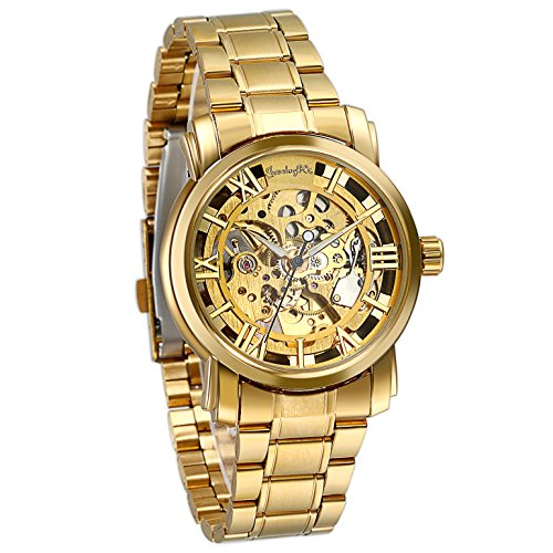 Gold Watch Transparent (Luxury Mens Stainless Steel Transparent Skeleton Automatic Mechanical Wrist Watch (Gold))
