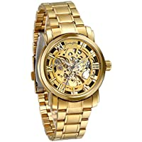 Luxury Mens Stainless Steel Transparent Skeleton Automatic Mechanical Wrist Watch (Gold)
