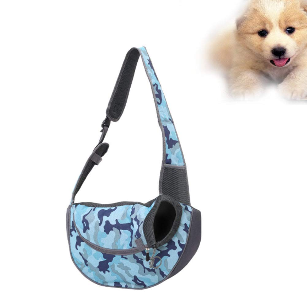 bluee Small bluee Small Hands Free Pet Carrier Shoulder Bag Soft Breathable Mesh Travel Bag with Adjustable Strap & Zipper Ldeal for Dogs and Cats Outdoor Travel Activities,bluee,S