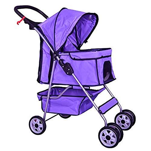 BestPet Pet Stroller Cat Dog Cage 4 Wheels Stroller Travel Folding Carrier