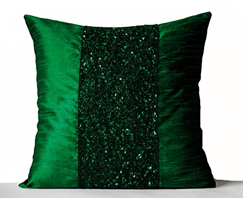 - Throw Pillow Covers, Emerald Green Beaded Pillow Covers, Green Sparkle Pillow, Beads Sequin Pillow Cover, Beaded Cushion Covers, Sparkling Pillow Cover, Christmas Pillow Covers, Handmade Gift (16x16)
