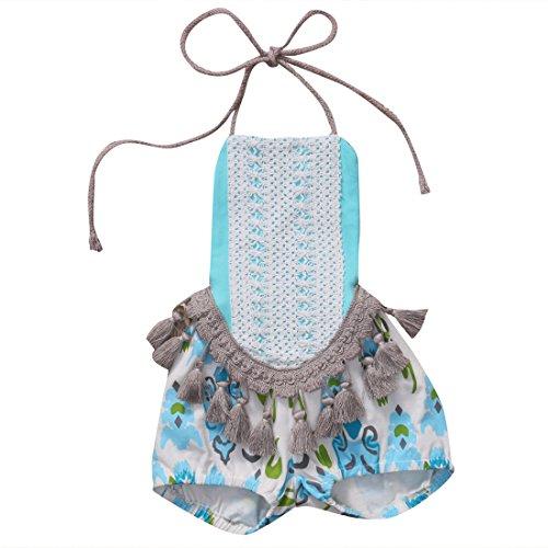 Baby Girls Halter One-pieces Romper Jumpsuit Sunsuit Outfit Clothes (80 (6-12M), Blue)