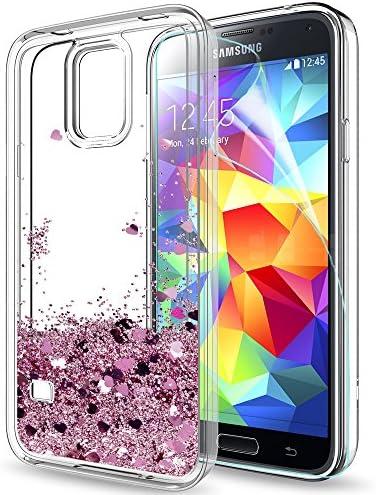 LeYi Compatible with Hülle Samsung Galaxy S5 Glitzer Handyhülle mit HD Folie Schutzfolie,Cover TPU Bumper Silikon Flüssigkeit Clear Schutzhülle für Case Galaxy S5 Handy Hüllen ZX Rot Rosegold