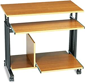 Safco Products 1927MO Muv Mini Tower Adjustable Height Computer Workstation with Keyboard Shelf, Medium Oak