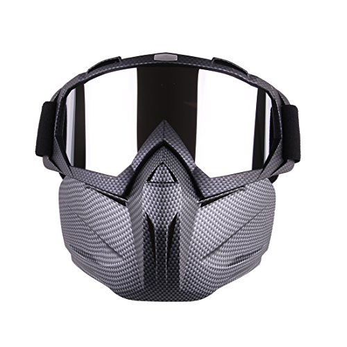 Fcoson Tactical Mask Goggles Set Removable Half Face Mask for Airsoft Paintball Shooting Motorcycle Nerf CS Snake Skin