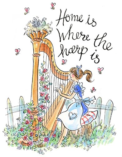 """""""Home is Where the Harp Is"""" Tote Bag (Long white handles with white gusset)"""