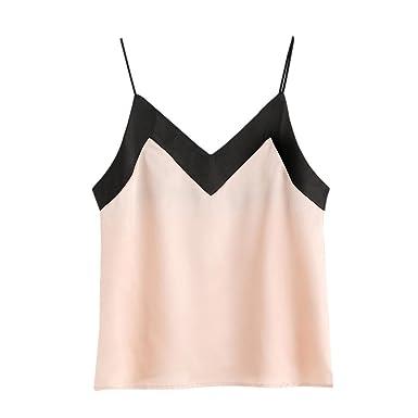 59cf107e68ba7 Women V-Neck Casual Sleeveless Crop Cami Top Teen Girl Color Block Tank  Shirt Blouse