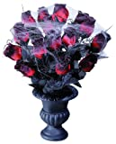 Vases 15 Red Roses & Spiderweb Accessory For Halloween Fancy Dress