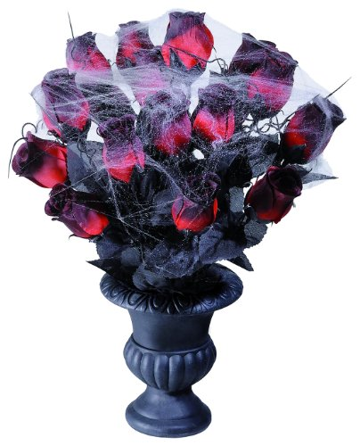 Vases 15 Red Roses & Spiderweb Accessory For Halloween Fancy Dress]()