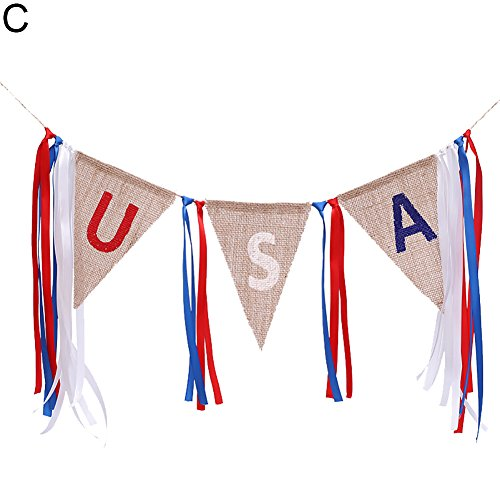 (TYewa98556 Independence Day USA Letter Printed Linen Cloth Banner, Triangle Hanging Flag Banner Party Accessory C- Strap)