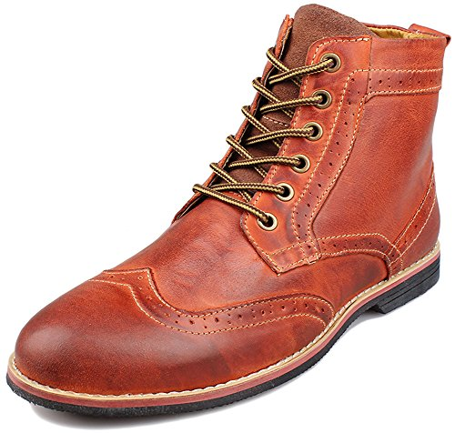Leather Ankle Boot Lace (PhiFA Men's Top Grain Leather Brogues Ankle Dress Boots Lace-ups Shoes US Size 10.5)