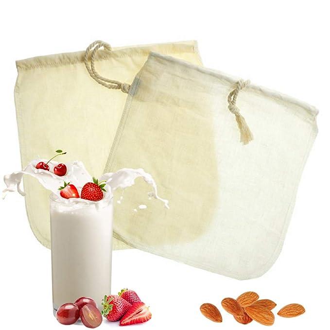 Bolsa de leche de almendras - Paquete de 2 bolsas de leche de algodón orgánico/cáñamo, filtro de alimentos para yogur, paños de queso y jugo, fabricante de ...