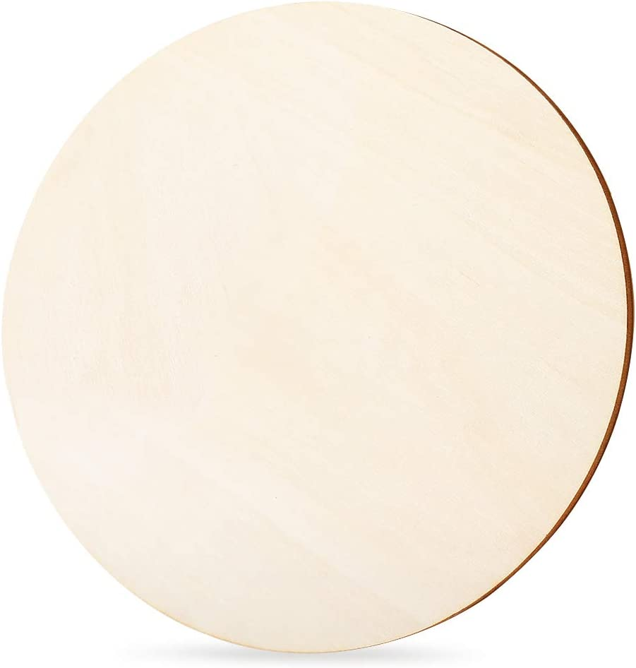 Caydo 1 Piece Unfinished Wood Circle 14 Inch x 1/5 Inch Thick, Natural Rustic Wooden Cutout for Home Decorations, Wedding, Pyrography and Painting