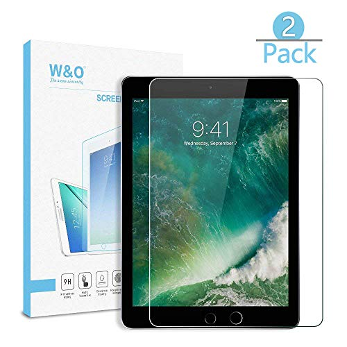 [2-Pack] W&O Glass Screen Protector Compatible for iPad Pro 9.7/ iPad Air 2 / iPad Air Tempered Protector Film 9H Hardness Anti-Scratch