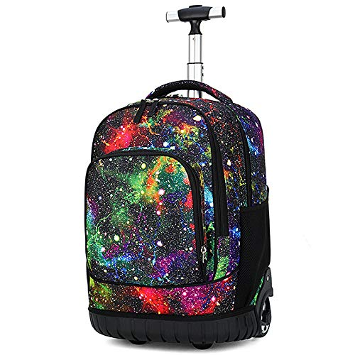 Wnvivi 18 inches Wheeled Rolling Backpack, Unisex Powerglide Wheeled Laptop Backpack for Teenagers College Books Bag Laptop Travel Trolley ()