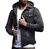 Mens' Autumn Demin Jacket Winter Hooded Vintage Distressed Tops Coat Outwear iTLOTL(Gray,US-18/CN-3XL)
