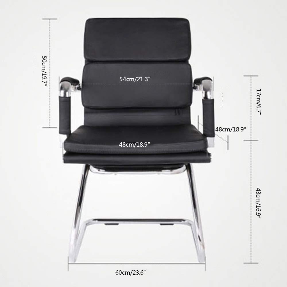 Datorstol läder skrivbord spelstol dubbel kudde kontor skrivbord stol rosett fot ergonomisk hög rygg datorstol för studiekontor (färg: svart) Svart